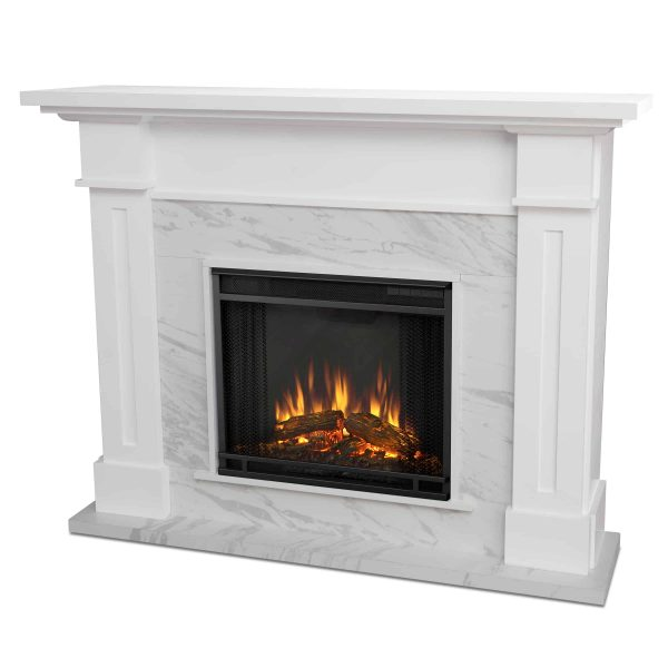 Kipling Electric Fireplace in White with Faux Marble by Real Flame 4