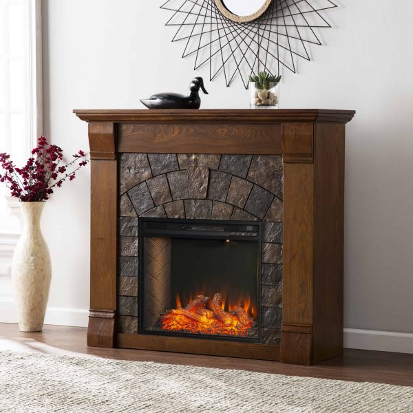 Kolfyre Faux Stone Smart Electric Fireplace