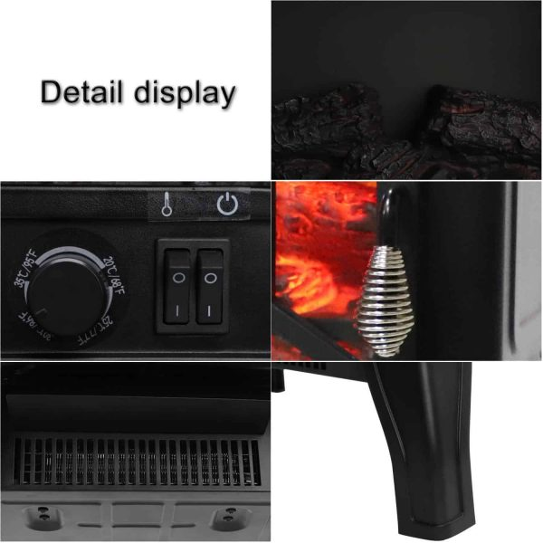 "Ktaxon 17"" Electric Fireplace Heater FreeStanding Fire Flame Stove, Black 2"
