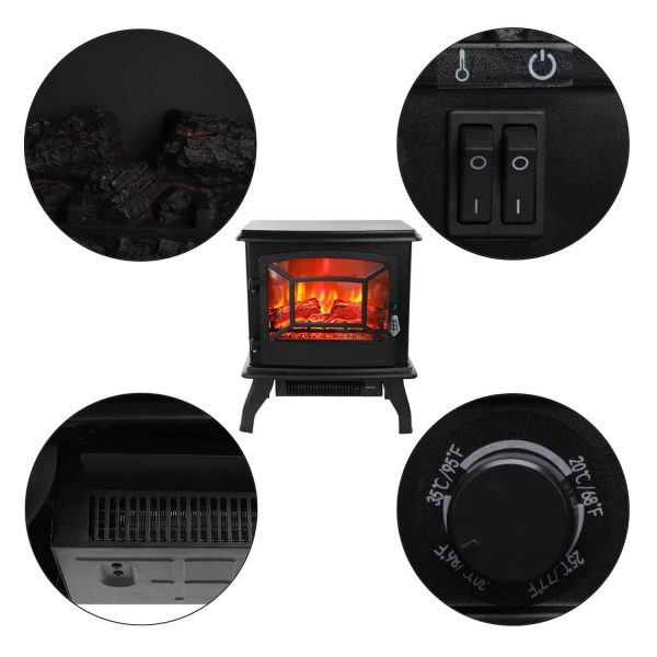 "Ktaxon 17"" Freestanding Black Portable Electric Fireplace Heater 3D Flames Firebox w/ Logs,CSA Listed 2"