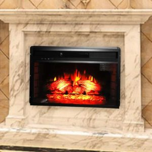 """Ktaxon 26"""" Embedded Fireplace Electric Insert Heater Glass View Log Flame Remote Home"""