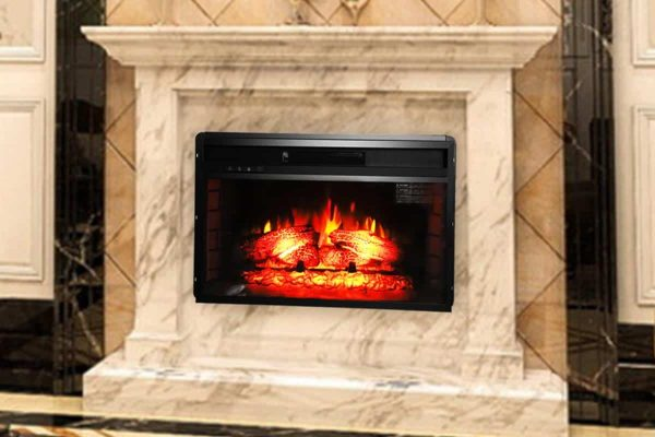 "Ktaxon 26"" Embedded Fireplace Electric Insert Heater Glass View Log Flame Remote Home"
