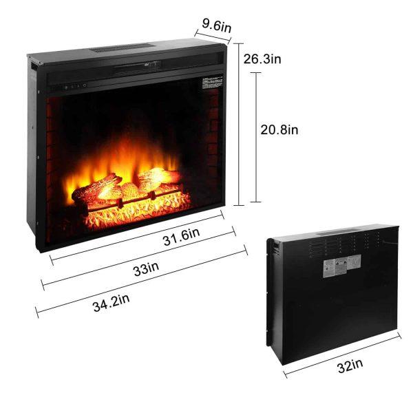 "Ktaxon Electric Quartz Fireplace ,1500W 26"" 33"" Decor Flame Electric Fireplace Heater Insert with Remote Control, Black 3"