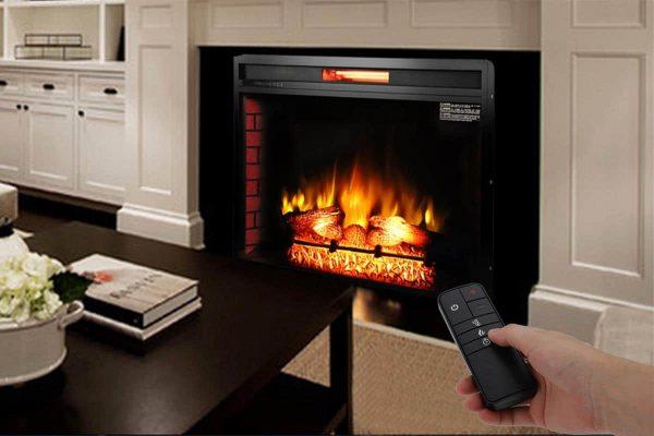 "Ktaxon Electric Quartz Fireplace ,1500W 26"" 33"" Decor Flame Electric Fireplace Heater Insert with Remote Control, Black 4"