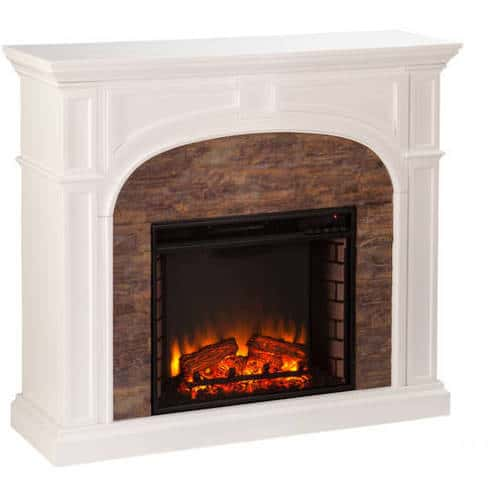 Lambert Electric Fireplace with Faux Stone, White 3