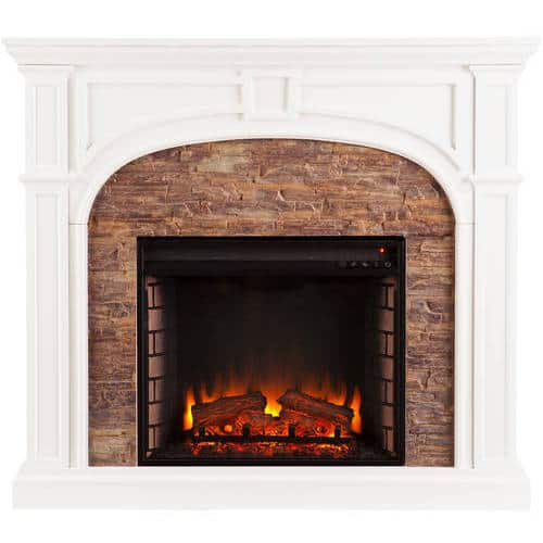 Lambert Electric Fireplace with Faux Stone, White 4
