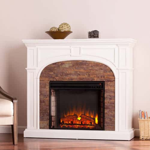 Lambert Electric Fireplace with Faux Stone
