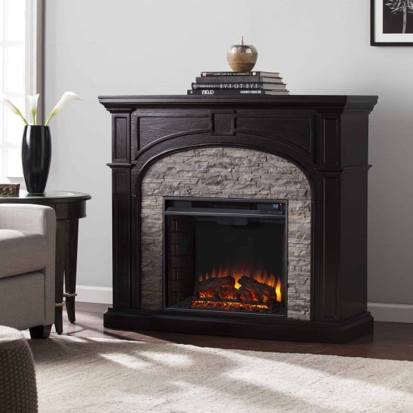 Lambert Infrared Fireplace with Faux Stone, Ebony 2