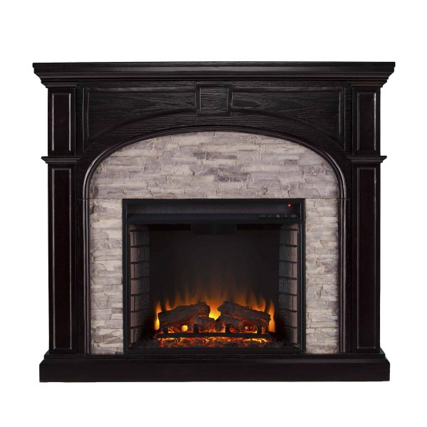 Lambert Infrared Fireplace with Faux Stone, Ebony 3