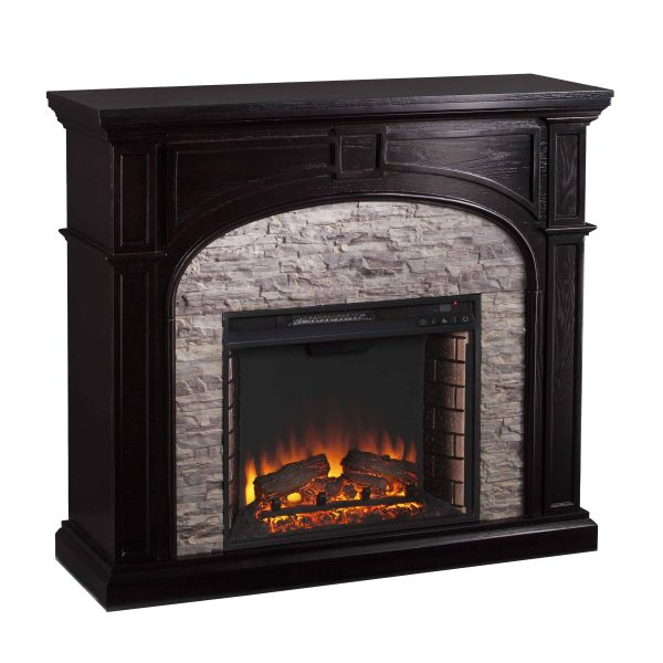 Lambert Infrared Fireplace with Faux Stone, Ebony 4