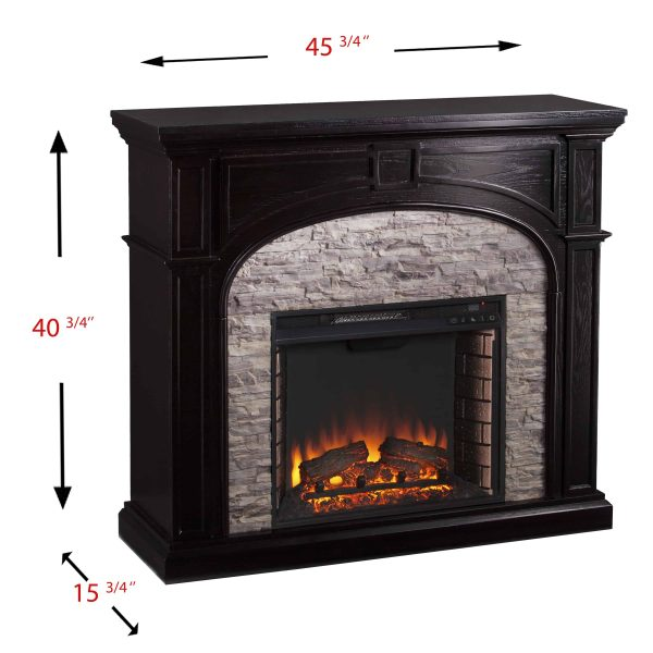 Lambert Infrared Fireplace with Faux Stone, Ebony 7