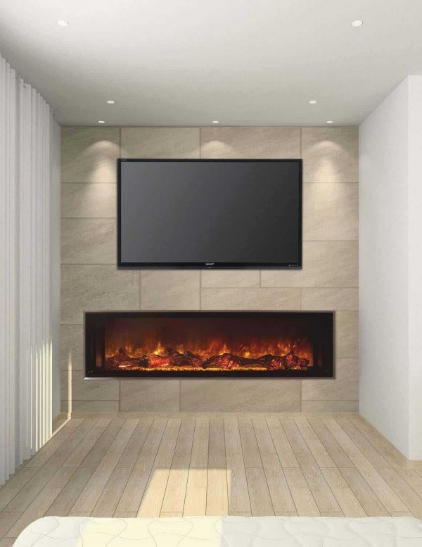 """Landscape Clean Face Fullview Built-In Electric Fireplace - 80"""" x 15"""" 1"""