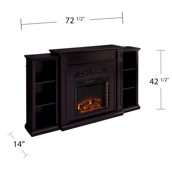 Landsmill Electric Fireplace w/ Bookcases 8