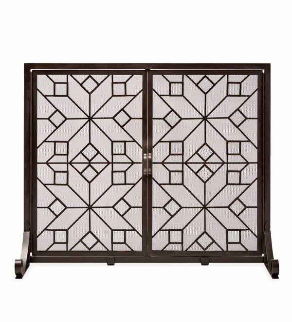 Large American Star Fireplace Fire Screen with Glass Accents and Doors