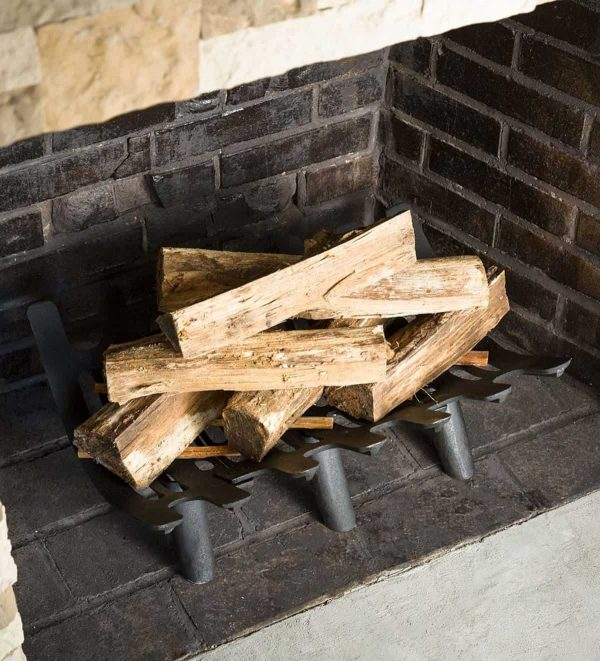Large Cast Iron Deep-Bed Fireplace Grate - Keeps Logs in Place & Hot Coals 2