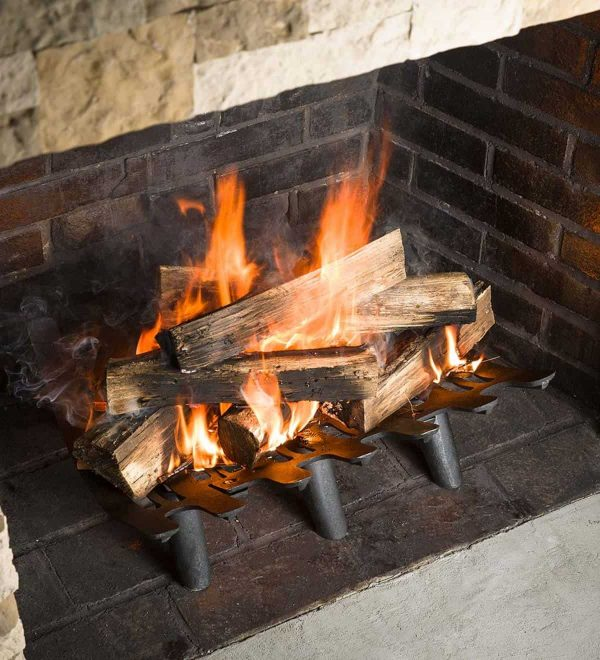 Large Cast Iron Deep-Bed Fireplace Grate - Keeps Logs in Place & Hot Coals 3