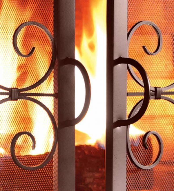 Large Crest Fireplace Fire Screen with Doors 1