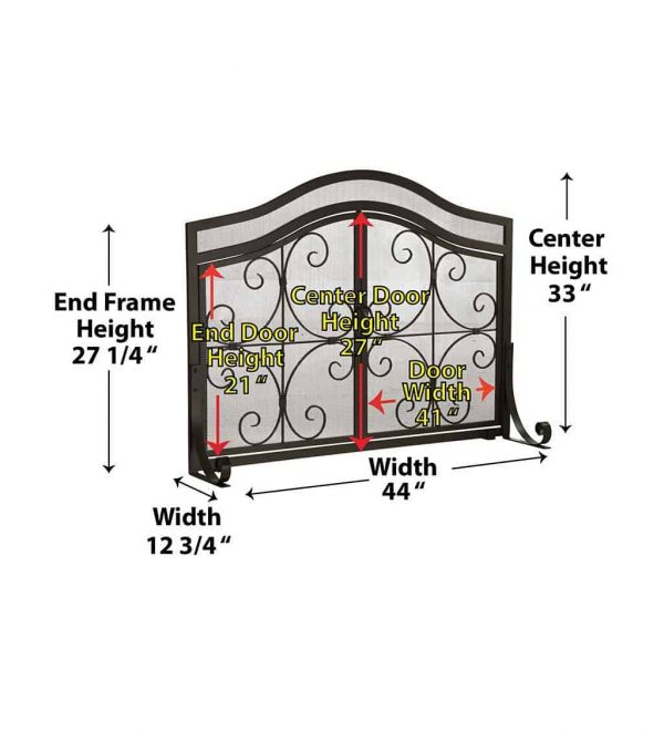 Large Crest Fireplace Fire Screen with Doors 3