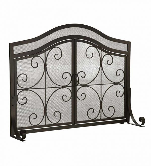 Large Crest Fireplace Fire Screen with Doors 4