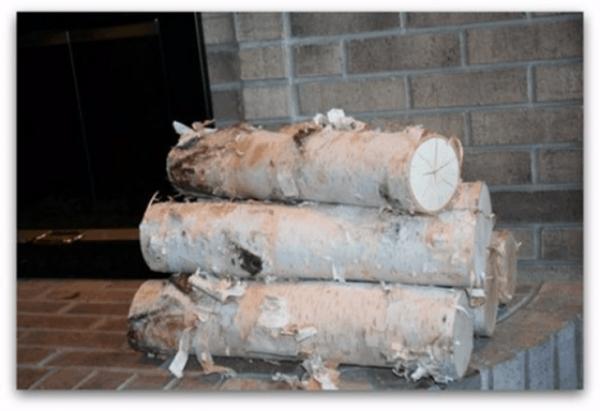 "Large Fireplace White Birch Logs (5 logs) 18"" long x 3-5"" diameter"