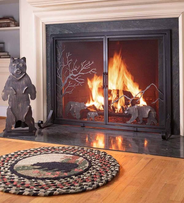 Large Shenandoah Mountain Bear Family Fireplace Fire Screen with Doors 1
