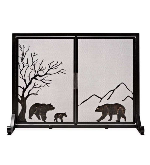 Large Shenandoah Mountain Bear Family Fireplace Fire Screen with Doors