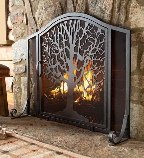 Large Tree of Life Fireplace Metal Fire Screen with Door 3