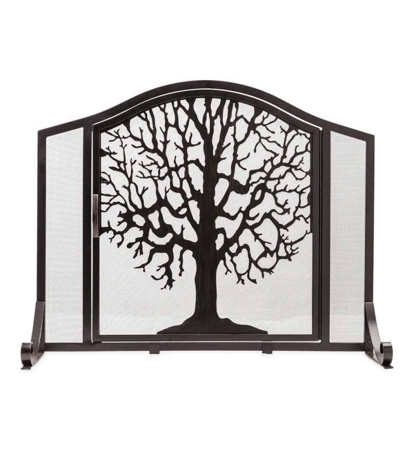 Large Tree of Life Fireplace Metal Fire Screen with Door