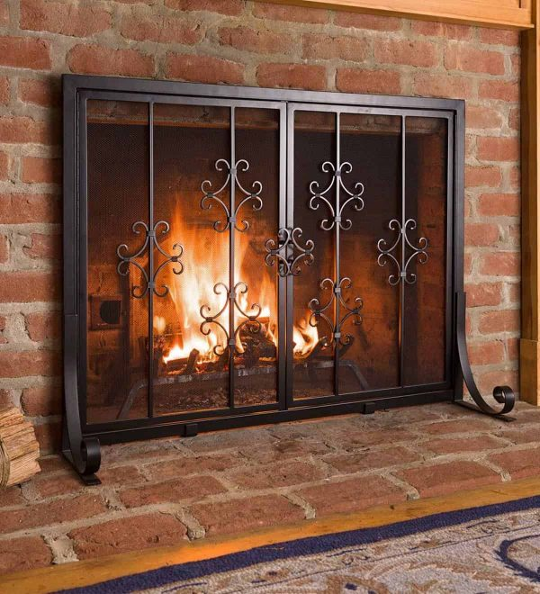 Large Vienna Scroll Fireplace Fire Screen with Two Doors 1