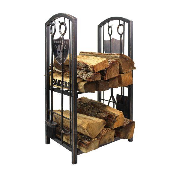 Las Vegas Raiders Imperial Fireplace Wood Holder & Tool Set - Brown 1