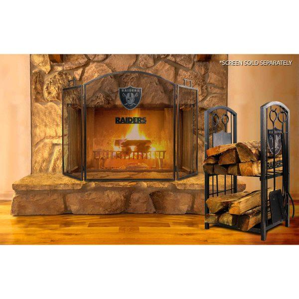 Las Vegas Raiders Imperial Fireplace Wood Holder & Tool Set - Brown 2