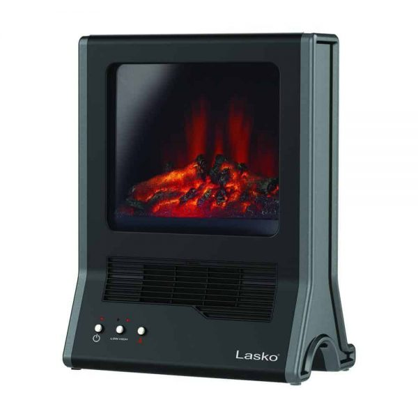 "Lasko Fireplace Ceramic Heater with High/Low Heat Settings & ""Flame Only"" Setting"