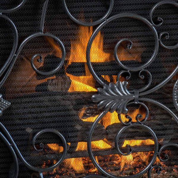Laurentia Panel Iron Fireplace Screen 2