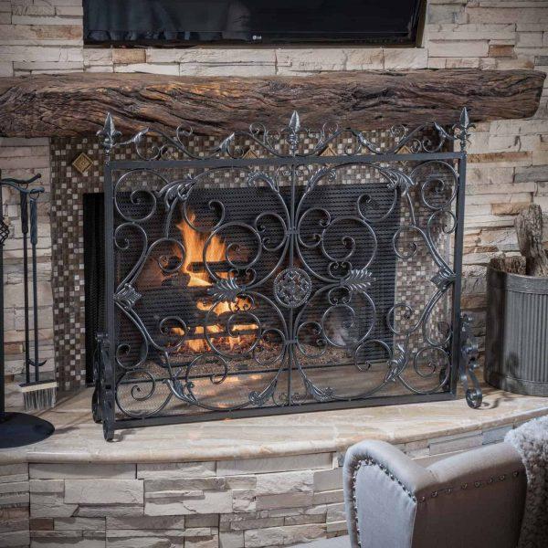 Laurentia Panel Iron Fireplace Screen