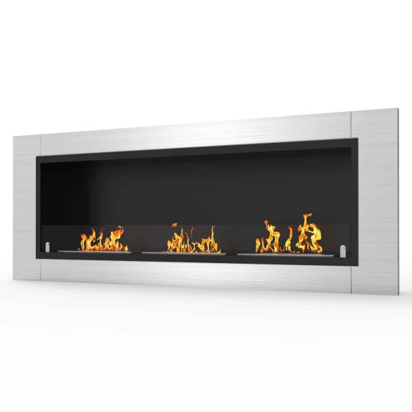 Lenox 54 Inch Ventless Built In Recessed Bio Ethanol Wall Mounted Fireplace 1