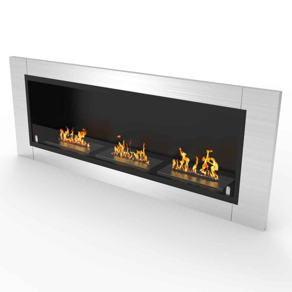 Lenox 54 Inch Ventless Built In Recessed Bio Ethanol Wall Mounted Fireplace 2