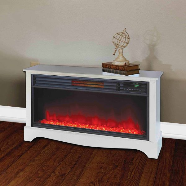 LifeSmart LifeZone Electric Infrared Quartz Standing Fireplace Heater, White 4