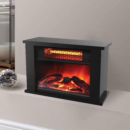 Tapletop Infrared Mini Fireplace -Dark Walnut