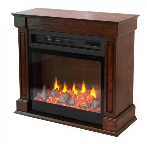 "Lifesmart 29"" Rolling Mantel Electric Fireplace with 3D Flame 1"