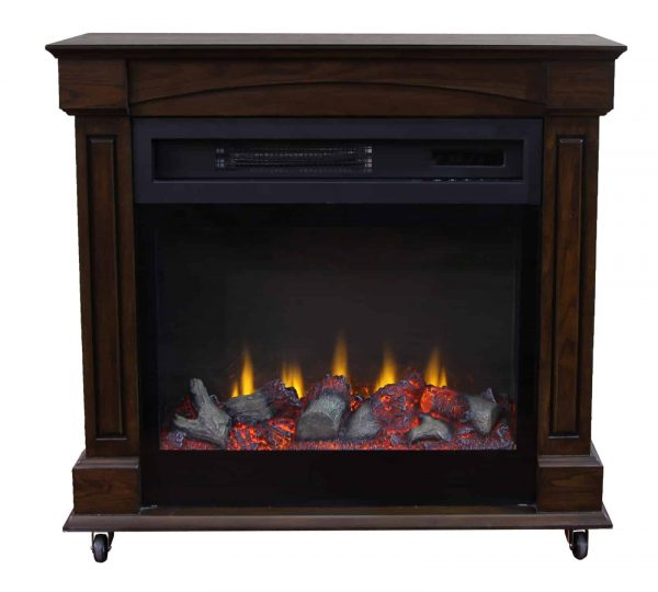 "Lifesmart 29"" Rolling Mantel Electric Fireplace with 3D Flame 2"