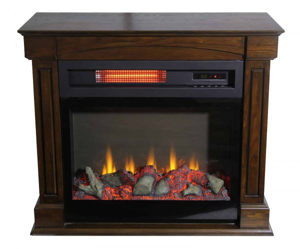 "Lifesmart 29"" Rolling Mantel Electric Fireplace with 3D Flame 3"