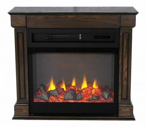 "Lifesmart 29"" Rolling Mantel Electric Fireplace with 3D Flame"