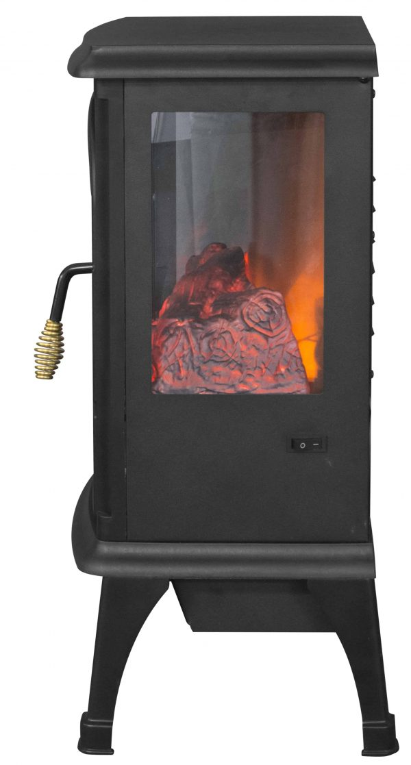 Lifesmart 3-Sided Dual Element Stove Fireplace with Flip Down Door and Remote 2