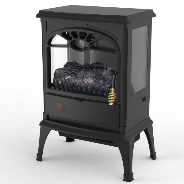 Lifesmart 3-Sided Dual Element Stove Fireplace with Flip Down Door and Remote 3