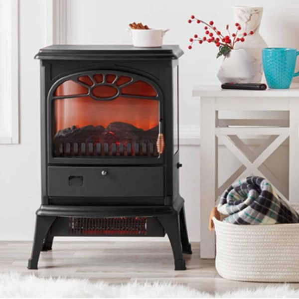 Lifesmart 3-Sided Dual Element Stove Fireplace with Flip Down Door and Remote