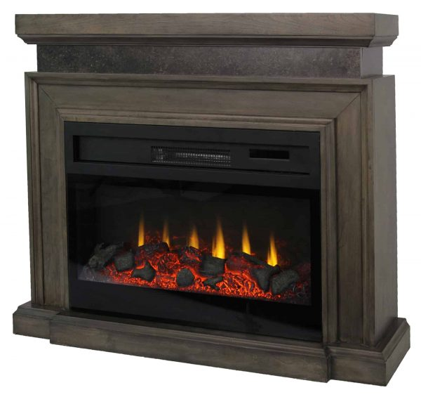 "Lifesmart 38"" Mantel Fireplace with 3D Flame and Remote Control 1"