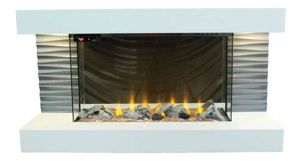 """Lifesmart 44"""" Contemporary Wall Mounted Infrared Fireplace with Multi Color Ember Bed and Remote Control 1"""