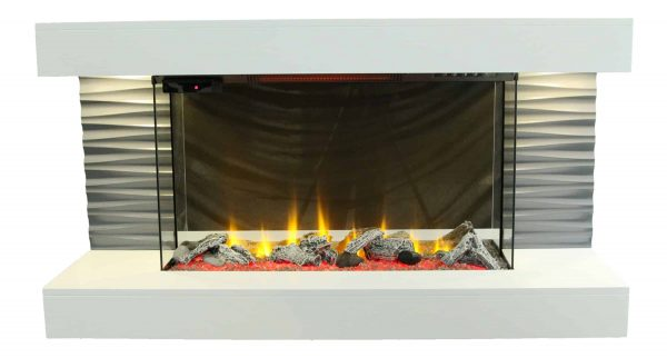 """Lifesmart 44"""" Contemporary Wall Mounted Infrared Fireplace with Multi Color Ember Bed and Remote Control 5"""