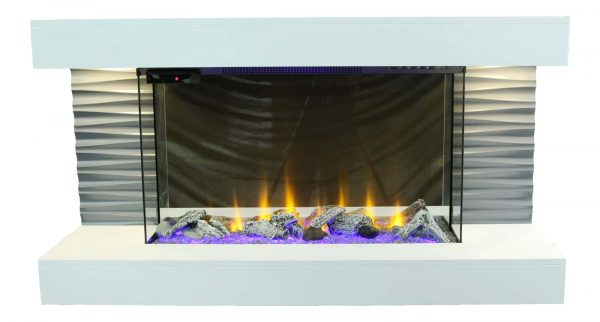 """Lifesmart 44"""" Contemporary Wall Mounted Infrared Fireplace with Multi Color Ember Bed and Remote Control"""