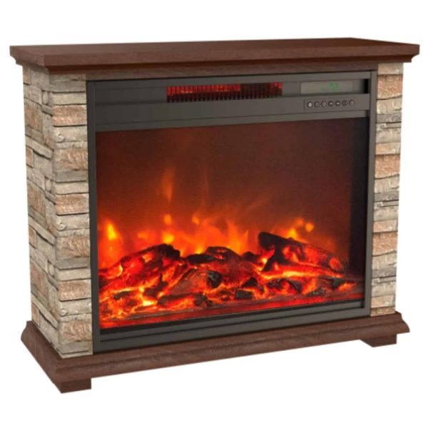 Lifesmart Infrared Large Infrared Faux Stone Fireplace with Remote